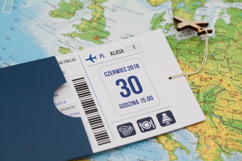 Samolot Zaproszenie ślub Bilet Lotniczy Etui Z31 6125521821 Allegropl