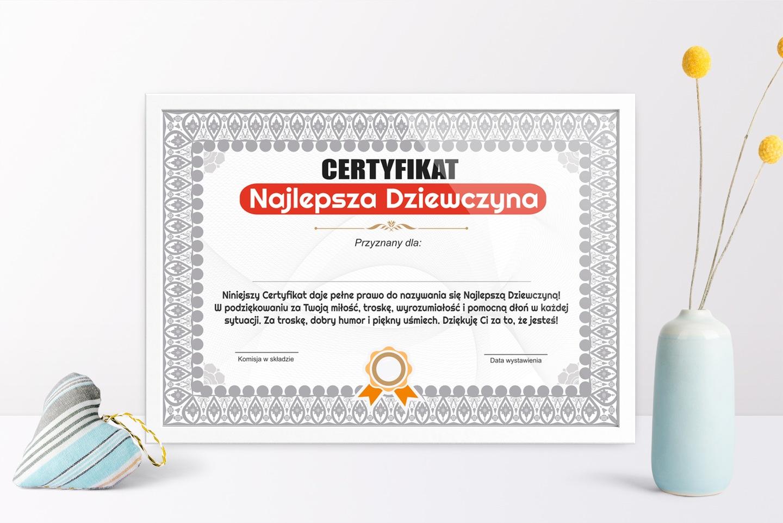 Certyfikat Prezent Dla Dziewczyny Urodziny Wysyłka