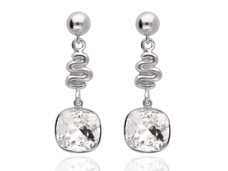 d6c0eda32ad47 Wygodne, wiszące kolczyki sztyfty wykonane z wysokiej jakości srebra i  wysadzane błyszczącymi się, kwadratowymi kryształami Swarovski® w jasnym,  ...