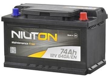 аккумулятор niuton 12v 74ah 640a prawy+ для osobowki - фото