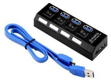 HUB USB 3.0 КОНЦЕНТРАТОР 4 порта USB, с выключателями доставка товаров из Польши и Allegro на русском