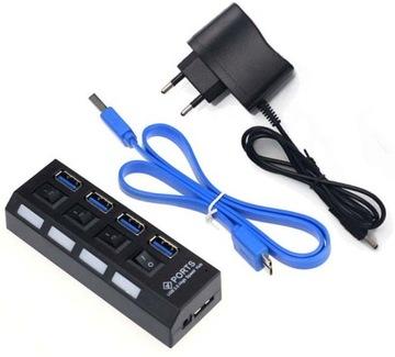 HUB USB 3.0, 4 x USB 3.0 порты блок ПИТАНИЯ Пау доставка товаров из Польши и Allegro на русском