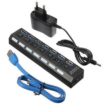 Активный КОНЦЕНТРАТОР USB 3.0 7 портов разветвитель Пау доставка товаров из Польши и Allegro на русском