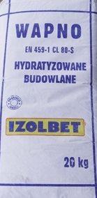 IZOLBET ИЗВЕСТЬ СТРОИТЕЛЬНЫЕ HYDRATYZOWANE ЖАРЕНЫЕ 20 КГ доставка товаров из Польши и Allegro на русском