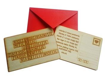 ВАЛЕНТАЙН ИЗ ДЕРЕВА открытка-я Люблю Тебя в день св. валентина доставка товаров из Польши и Allegro на русском