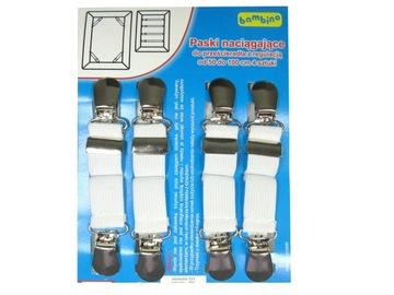 Elastické pásky, sponky na plech, 4 ks, 50-100cm
