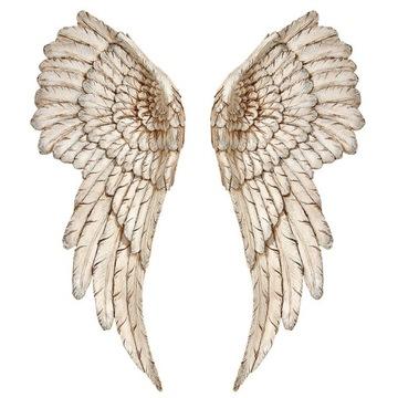 Retro anjelské krídla s patinovanou dekoráciou na stenu
