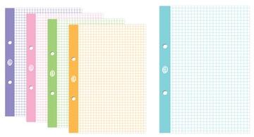 Vložka pre súbory A5 50, kockovaná, farebný okraj