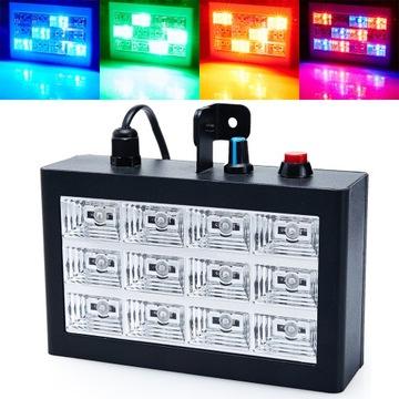 Colorofon Stroboscope 3 farby Reflektor 12 LED RGB