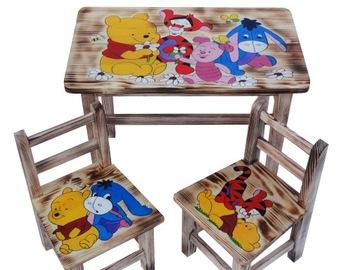 Стол и 2 деревянных стула для детей