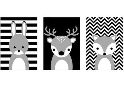 Plagáty A3 nastaviť. Lesné zvieratá, čierna a biela