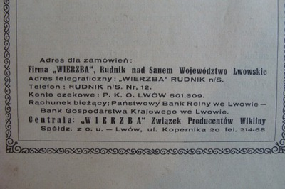 LWÓW RUDNIK N.SANEM FABRYKA KOSZYKÓW przedw.CENNIK