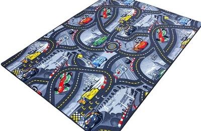 Koberec do detskej izby - CARPET DISNEY CARS 160 x 200 mestských ulíc 4 farby