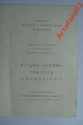 GDAŃSK ZAPROSZENIE NA WYSTAWĘ SZTUKA LUDOWA 1965