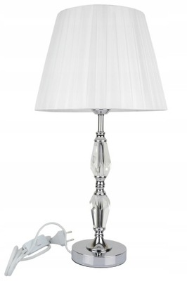Stolové lampy - Svietidlá - Svietidlá - Stolové lampy - LAMPKA SREBRNA KRYSZTAŁ GLAMOUR LAMPA NOCNA 56,5cm