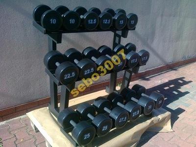 HANTLE STAŁE STALOWE  GUMOWANE 7,5-40kg  665kg