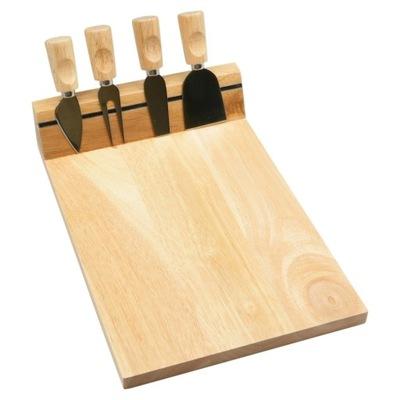 Doska na rezanie - Deska drewniana sera serów przekąsek 4 noże magnes