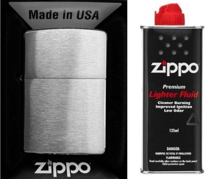 комплект ZIPPO Зажигалка Матовый Хром + бензин