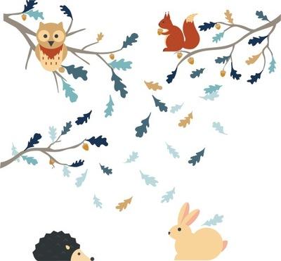 Nálepka na stenu veverička vetvičky sova ježko zajac