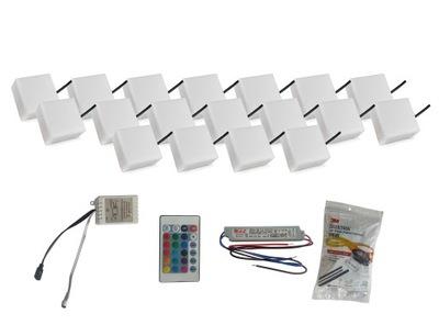 Záhradné svietidlo nájazdové - 18x žiarivá dlažba LED 10X10 Holland RGB
