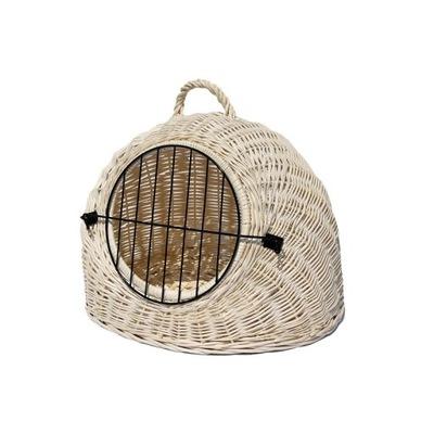 ЗАКРЫВАЕТСЯ будка плетеная бежевый для собаки или кошки XXL