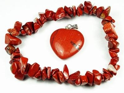 яшма красный - браслет + КУЛОН сердце -