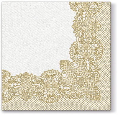 САЛФЕТКИ Flizelinowe Золотые КРУЖЕВО свадьба 50 штук
