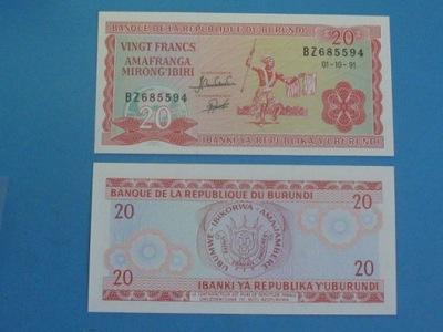 Бурунди Банкнота 20 Francs 1991 P-27, UNC
