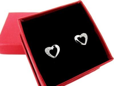 Серебряные серьги серебро 925 сердца стразами