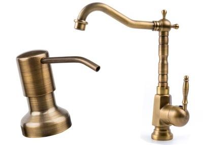 RETRO faucet kuchynský faucet staré zlato + dávkovač