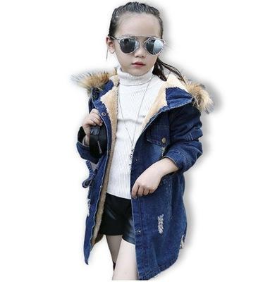 Jesienna Kurtka Ciepla Jeansowa Dziewczynki 140 7415489961 Oficjalne Archiwum Allegro