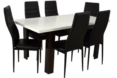 стол раскладной для 160 6 ЧЕРНЫХ СТУЛЬЕВ С эко