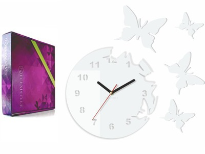Moderné veľké nástenné hodiny MOTÝĽA, motýle White