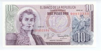 Колумбия 10 песо oro 1980
