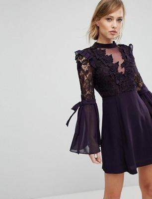 55af99e80 Fioletowa sukienka ASOS r 38 M wesele impreza - 6091065498 ...