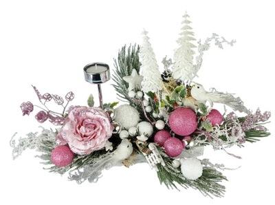 Stroik Bożenarodzeniowy Świąteczny Dekoracja Różow