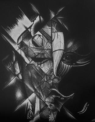 вручную гравированный рисунок в противень ... кубизм