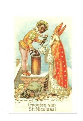 Pocztówka - Św. Mikołaj z Czarnym Piotrem na dachu