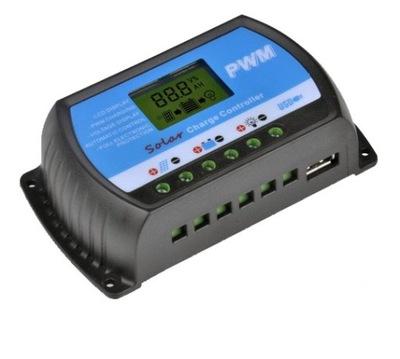 POPLATOK REGULÁTORA LCD 10A 12V/24V PWM SOLÁRNE USB
