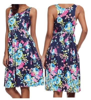 f242b8820e Sukienka letnia plażowa w kwiaty granat 61612 S 36 - 7400585085 ...