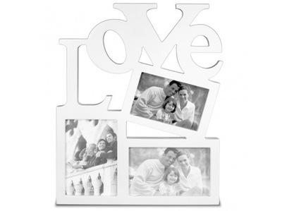 81138 DUŻA Drewniana Ramka LOVE - na 3 ZDJĘCIA