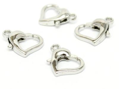большой карабин сердце 14мм 4шт серебро KAR19