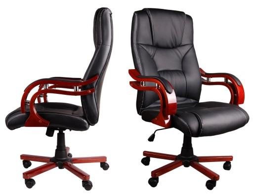 Inne rodzaje Ekskluzywny CZARNY skórzany fotel biurowy DREWNO 6814911552 WF29