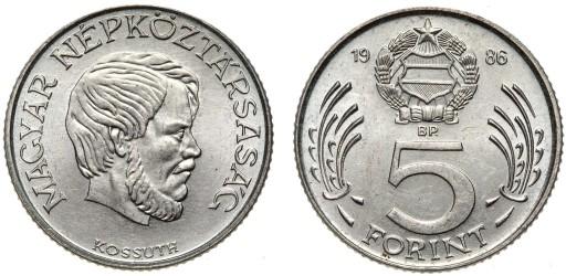 Węgry - moneta - 5 Forintów 1986 - RZADSZA !
