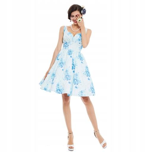 Sukienka wesele pin up retro biała niebieska XL 42