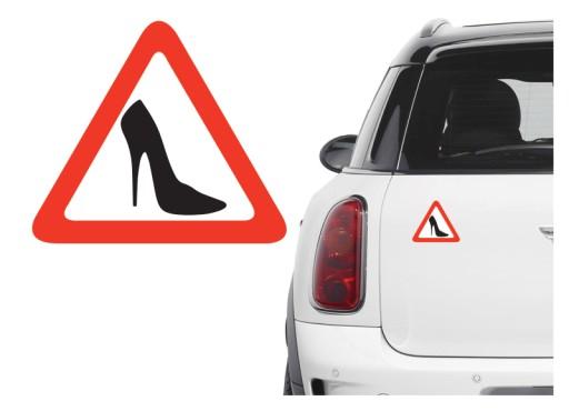 Naklejka na samochód - obcas / uwaga kobieta