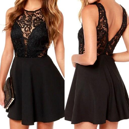Chłodny Sukienka koronkowa czarna mini dekolt plecy M 38 6628213036 MO89
