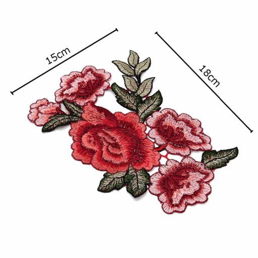 KOMPLET Naszywka duża róża róże kwiaty haft - 2szt