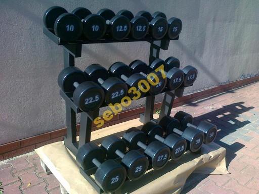 HANTLE STAŁE STALOWE  GUMOWANE 7,5-40kg  525kg