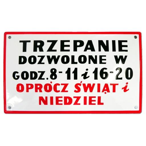 TRZEPANIE śmieszna tablica PRL emaliowana GW 10lat